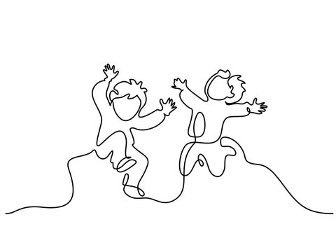 Continuous one line drawing. Happy boys pupil running and jumping. Vector illustration. Concept for logo, card, banner, poster flyer