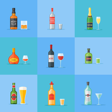 Set of bottles and glasses with alcohol drinks. Whiskey, vodka, cognac, wine, beer, absinthe, tequila, champagne and vermouth. Flat style icons. Vector illustration.