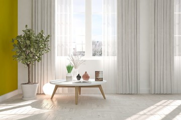 White empty room with table and flower. Scandinavian interior design. 3D illustration