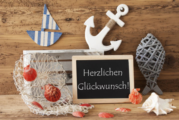 Chalkboard With Summer Decoration, Glueckwunch Means Congratulations