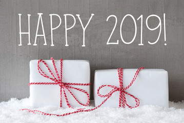 Two White Gifts With Snow, Text Happy 2019