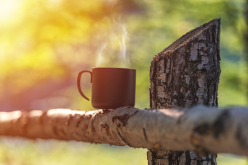 Cup with coffee on wood fence over mountain forrest landscape with sunlight. Beauty nature background