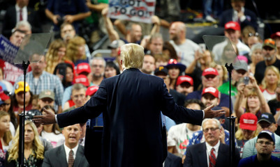 U.S. President Donald Trump speaks at a Make America Great Again rally at the Civic Center in Charleston, West Virginia, U.S.