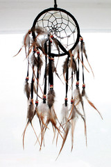 Dream catcher with feathers threads and beads rope hanging. Dreamcatcher handmade.