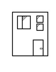 四角い家窓(線画)