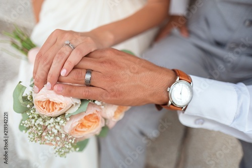 Hands Of New Married Couple Man Hand And Woman Hand With Wedding