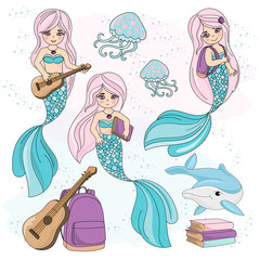 School Autumn Sea Underwater Vector Illustration Set MERMAID KIDS for Digital Print, Holidays, Wall Art, Scrapbooking, Photo Album Design and Digital Paper