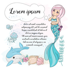School Autumn Sea Underwater Vector Illustration Set MERMAID DREAM for Digital Print, Holidays, Wall Art, Scrapbooking, Photo Album Design and Digital Paper