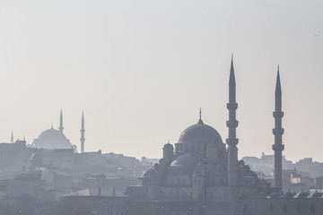 Shapes of the mosques of Sultanahmet (or Blue Mosque) and Eminonu in the shadow, in Istanbul, with the cupolas and minarets visible in the foreground