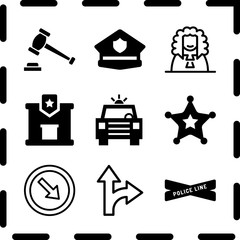 Simple 9 icon set of law related detour, police station, police cap and police line vector icons. Collection Illustration