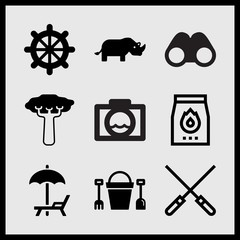 Simple 9 set of Summer related skewers, water camera, helm and beach umbrella and hammock vector icons