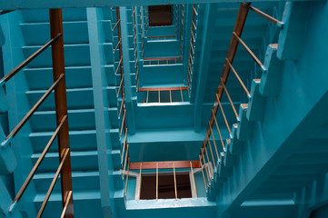 stairs in office building,blue toned image,spiritual concept