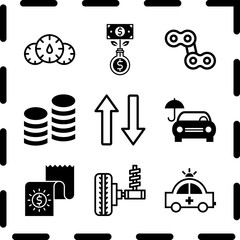 Simple 9 icon set of finance related bill, dashboard, chain and emergency car facing right vector icons. Collection Illustration