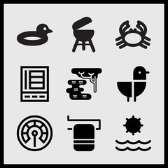 Simple 9 set of Summer related towel on rail, sun, seagull and duck float vector icons