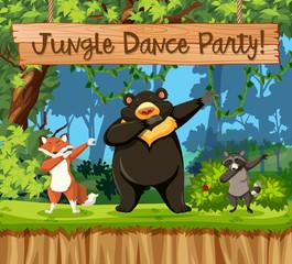 Jungle dance party animal scene