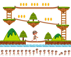 Woods game design with cartoon character