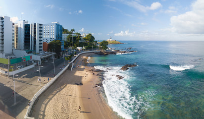 Aerial view of Barra beach in Salvador Bahia