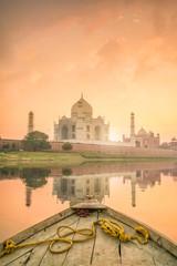 Panoramic view of Taj Mahal at sunset