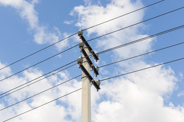 Electrical pole and wires against the sky