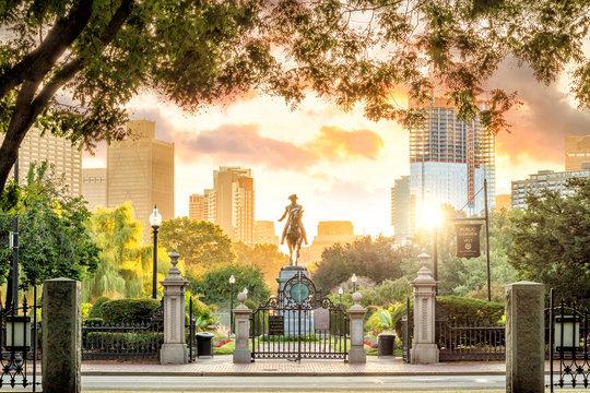 George Washington monument in Public Garden Boston Massachusetts