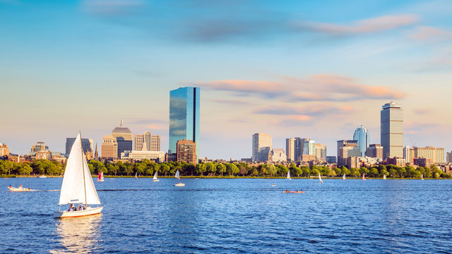 View of Boston Skyline in summer afternoon