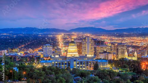 Fototapete Salt Lake City skyline Utah at night