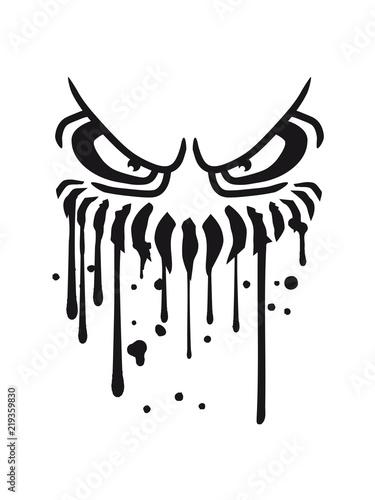 Hunger Blut Tropfen Spucke Sabber Graffiti Mund Fresse Grinsen