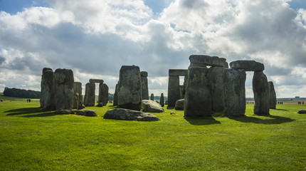 Stonehenge. Panoramic view. Prehistoric stone monument near Salisbury, Wiltshire, UK. in England.