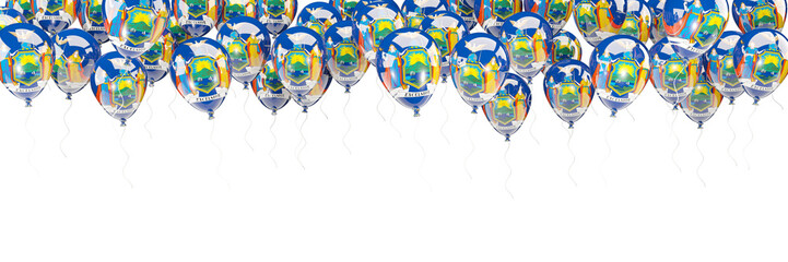 Balloons frame with flag of new york. United states local flags