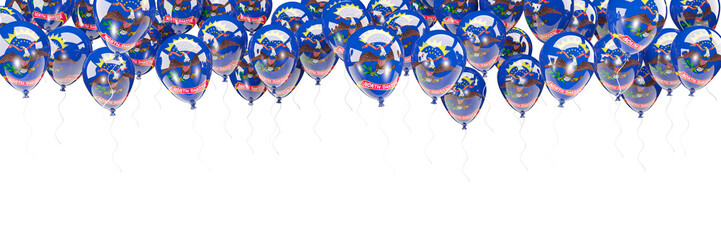 Balloons frame with flag of north dakota. United states local flags