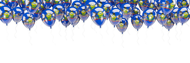 Balloons frame with flag of pennsylvania. United states local flags
