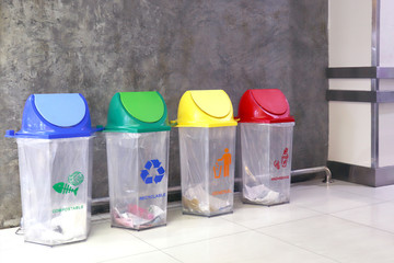 bin garbage waste, plastic bin recycle trash Inside the mall, bin garbage trash for waste separation