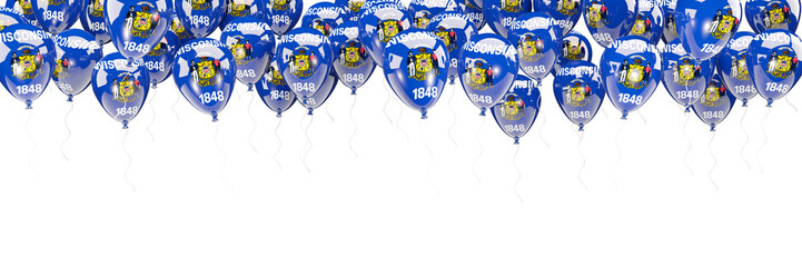 Balloons frame with flag of wisconsin. United states local flags