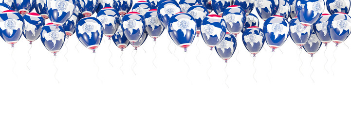 Balloons frame with flag of wyoming. United states local flags