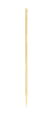 wooden bamboo pointed tip stick thin for skewer isolated on white background, single tipped wooden bamboo chopstick for skewer foods, bamboo sticks or wooden skewers used to hold pieces food