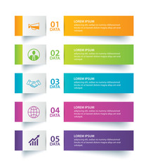 Fototapeta Infographics tab in horizontal paper index with 5 data template. Vector illustration abstract background. Can be used for workflow layout, business step, banner, web design.