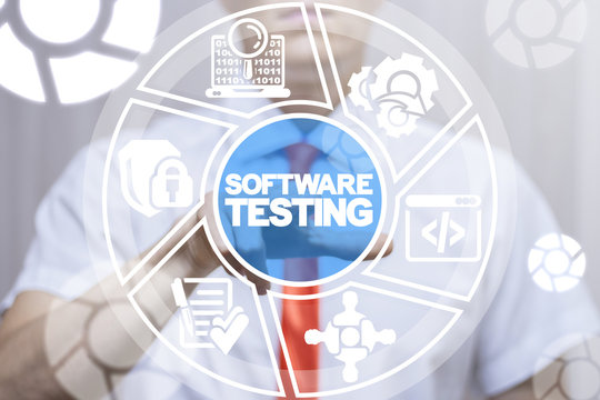 Man clicks a software testing words button on a virtual round panel. Mobile Application Designer Test Software Web concept.