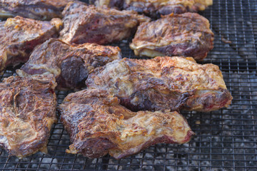 traditional meat grilled on the grill in the Argentine countryside