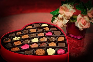 Heart shaped chocolate box alcohol surprise love couple romantic valenties day flowers red event ceremony easter