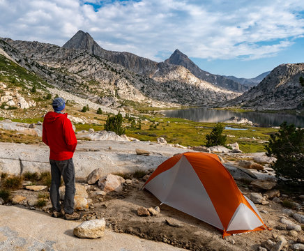 Camping in the Evolution Basin along the John Muir Trail, CA
