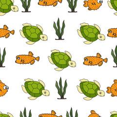 seamless pattern of sea animals