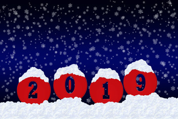 Blank for happy New Year greetings with the number 2019 on snow and blue gradient background with snowflakes