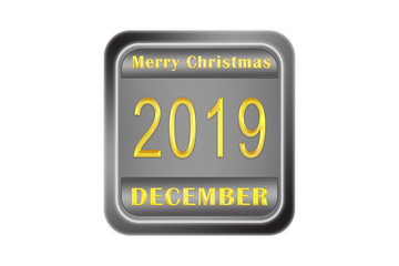 Metal volume plate with congratulations Merry Christmas 2019