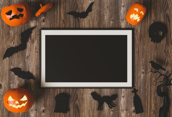 Halloween holiday poster mock up with pumpkin jack-o-lantern. View from above. 3D render