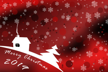 Pattern with snowflakes for merry Christmas 2019, red background