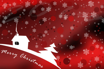 Pattern with snowflakes for merry Christmas, background in red