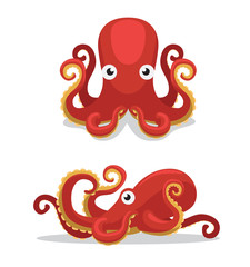 Cute Octopus Cartoon Vector Illustration