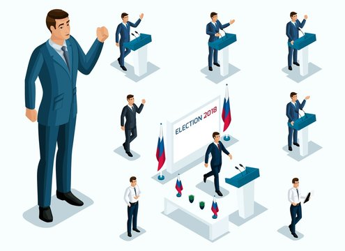 Isometrics Mr. President, voting, elections, debate. Gestures of Candidate, slogans of men of businessmen, power, beautiful and expensive suits
