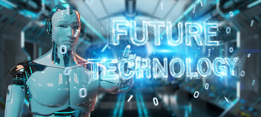 White robot using future technology text hologram 3D rendering