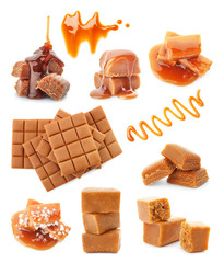 Spoed Foto op Canvas Snoepjes Set with delicious caramel candies and sauce on white background
